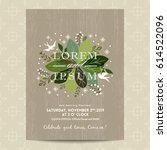 wedding card with cute green... | Shutterstock .eps vector #614522096