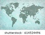 world on grainy plaster... | Shutterstock . vector #614524496