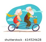 flat portrait of old cute...   Shutterstock . vector #614524628