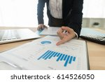 fund manager analyzing... | Shutterstock . vector #614526050