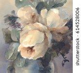 bouquet of white peonies... | Shutterstock . vector #614528006