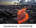 Red orange vibrant molten lava...