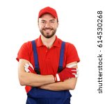 happy smiling handyman isolated ... | Shutterstock . vector #614530268