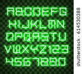glowing green neon alphabet...   Shutterstock .eps vector #614530388