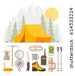 hiking tourism. camping. outfit ... | Shutterstock .eps vector #614533214