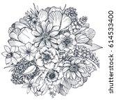 floral composition. bouquet... | Shutterstock .eps vector #614533400