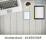 office desk with laptop ... | Shutterstock .eps vector #614541569