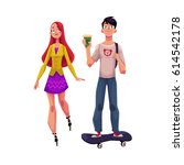 girl  woman riding roller... | Shutterstock .eps vector #614542178