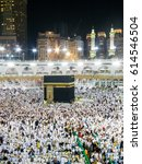 Small photo of MECCA, SAUDI ARABIA, March 18 2017 - Muslim pilgrims from all over the world gathered to perform Umrah at the Haram Mosque in Mecca. A crowd of pilgrims circumabulate (tawaf) Kaaba with noise effect