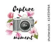 capture the moment. watercolor... | Shutterstock . vector #614554964