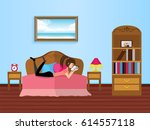 young girl reading in the... | Shutterstock .eps vector #614557118