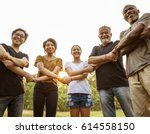 group of people holding hands... | Shutterstock . vector #614558150