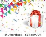 opened gift box on celebration... | Shutterstock .eps vector #614559704