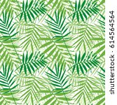 tropical palm leaves  jungle... | Shutterstock .eps vector #614564564