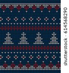 knit pattern christmas tree | Shutterstock .eps vector #614568290