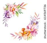 hand drawn watercolor flowers... | Shutterstock . vector #614569736