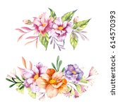 hand drawn watercolor floral... | Shutterstock . vector #614570393