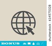 globe web icon flat. grey... | Shutterstock .eps vector #614575328