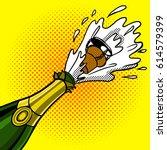 cork flies out of a bottle of... | Shutterstock .eps vector #614579399