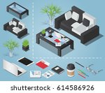 office workplace vector... | Shutterstock .eps vector #614586926