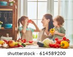 healthy food at home. happy... | Shutterstock . vector #614589200