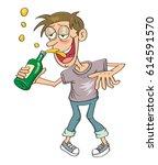 drunk man  vector illustration... | Shutterstock .eps vector #614591570