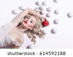 young beautiful blonde girl... | Shutterstock . vector #614592188