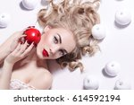 young beautiful blonde girl... | Shutterstock . vector #614592194