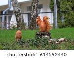 Sculpture Of A Red Squirrel...