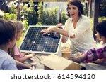 teacher and kids school... | Shutterstock . vector #614594120