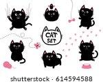 black fat cat set. bird ... | Shutterstock . vector #614594588