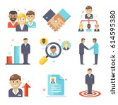 human management icons  flat... | Shutterstock .eps vector #614595380