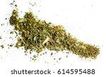 spot of grey green dry cannabis ... | Shutterstock . vector #614595488