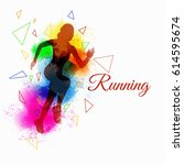sport silhouette running splash ...