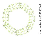 hand drawn spring floral wreath ... | Shutterstock .eps vector #614597564