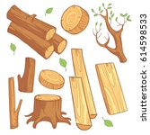 cartoon wooden materials ... | Shutterstock .eps vector #614598533