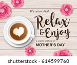 flat lay style mother s day...   Shutterstock .eps vector #614599760