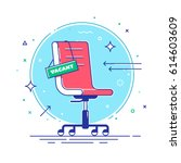 composition with office chair... | Shutterstock .eps vector #614603609