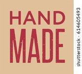 handmade red vintage lettering... | Shutterstock .eps vector #614605493