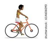 young afro woman rides red bike ... | Shutterstock .eps vector #614606090
