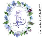 wildflower cherry flower frame... | Shutterstock . vector #614612078