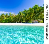 perfect tropical beach. sky... | Shutterstock . vector #614612780