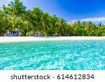 idyllic tropical beach... | Shutterstock . vector #614612834