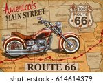 Vintage Route 66  Motorcycle...