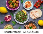 assorted middle eastern dishes... | Shutterstock . vector #614616038
