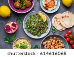 assorted middle eastern dishes... | Shutterstock . vector #614616068