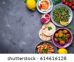 assorted middle eastern dishes... | Shutterstock . vector #614616128