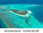 maldives beach from birds eye... | Shutterstock . vector #614618138
