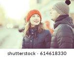 loving couple walking in the... | Shutterstock . vector #614618330