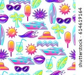 seamless pattern with stylized... | Shutterstock .eps vector #614619164